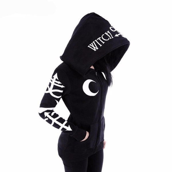 Witch Craft Moon Long Sleeve Jacket Zipper Coat
