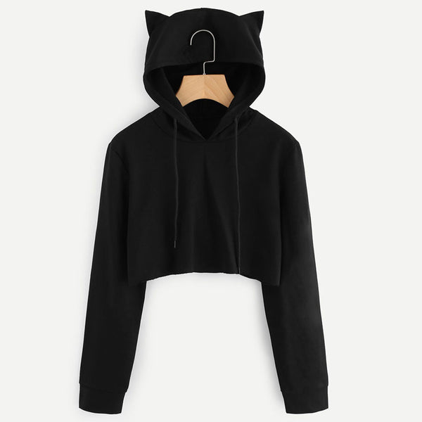 Solid Cat Ear Long Sleeve Cropped Sweatshirt