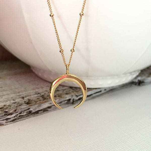 Gold Silver Celestial Crescent Moon Statement Necklace