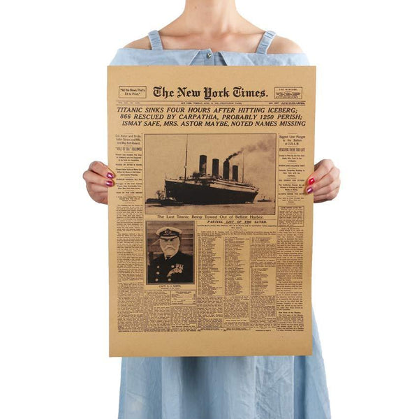 Classic The New York Times History Poster Titanic Shipwreck