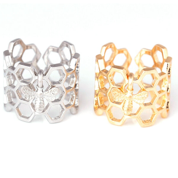 Save The Bees - Hexagon Honeycomb Bee Ring
