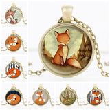 Woodland Glass Cabochon Fox Necklace