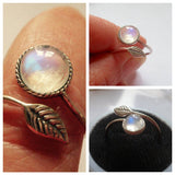 Natural Leaf Moonstone Ring