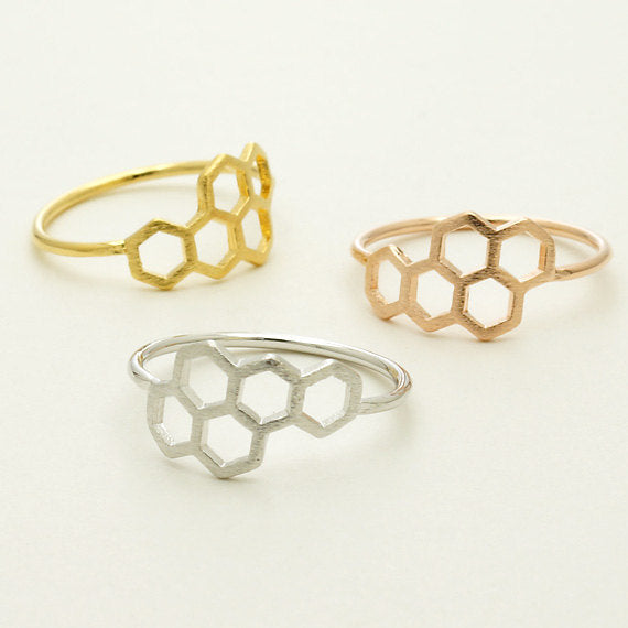 Save The Bees - Honeycomb Bee Ring