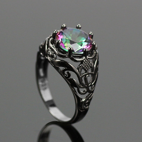 Dark Vintage Rainbow Topaz Ring