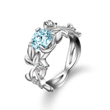 Flower Vine Leaf Blue Crystal Ring