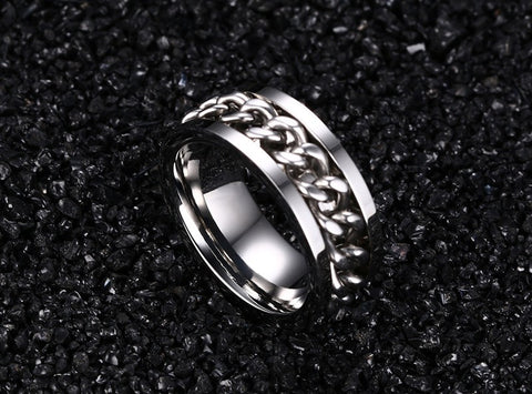 Braided Chain Fidget Spinner Ring