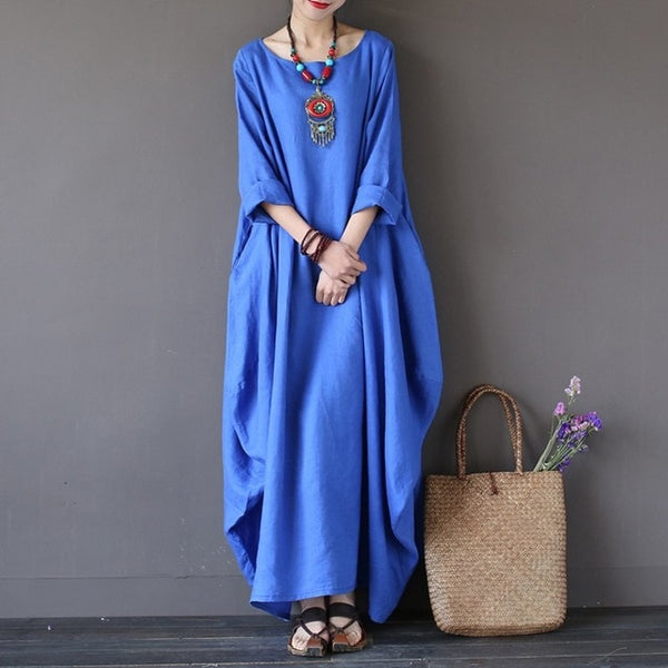 Crewneck Batwing Long Dress