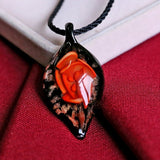 Leaf Shape Lampwork Glass Pendant Necklace