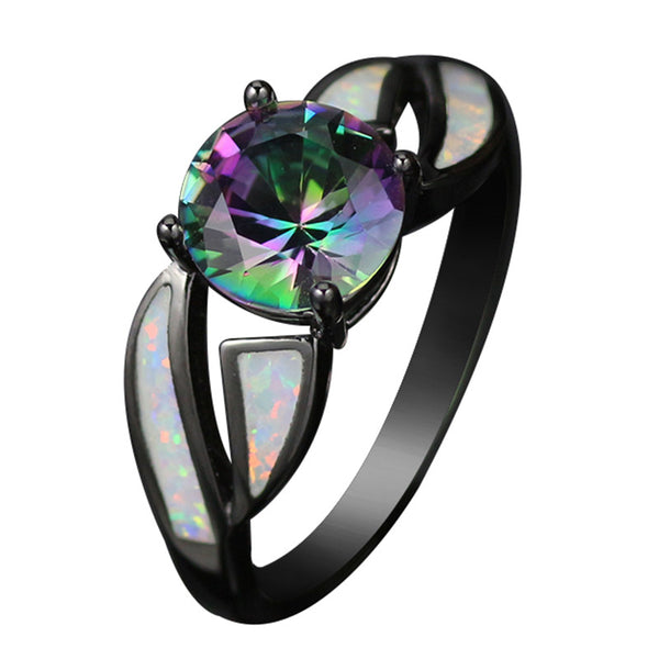 Black Gold Plated Rainbow Topaz Ring