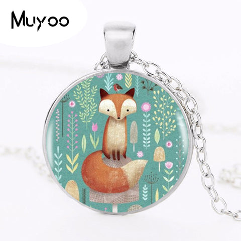 Fox Cartoon Glass Pendant Necklace