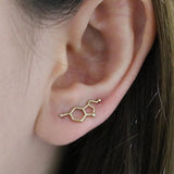 Serotonin Molecule Stud Earrings