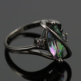 Black Plated Rainbow Topaz Marquise Ring