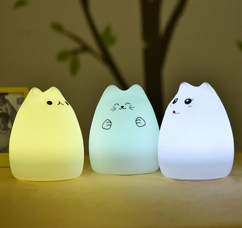 Soft Silicone 7 Changing Color LED Cat Night Lights
