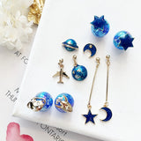 Planet Star Moon Rocket Stud Earrings