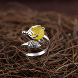Genuine Sterling Silver Natural Stone Fox Ring