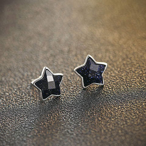 Galaxy Star Silver Stud Crystal Cubic Zircon Earrings