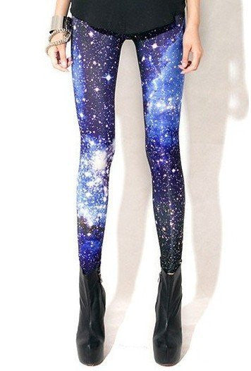 Woman Blue Galaxy Space Leggings