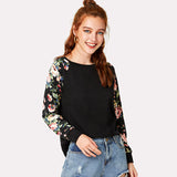 Floral Raglan Long Sleeve Shirt