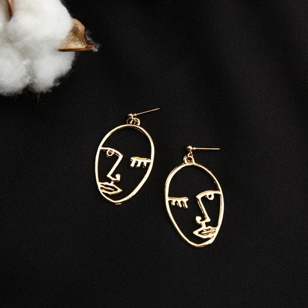 Abstract Hollow Out Face Drop Earrings