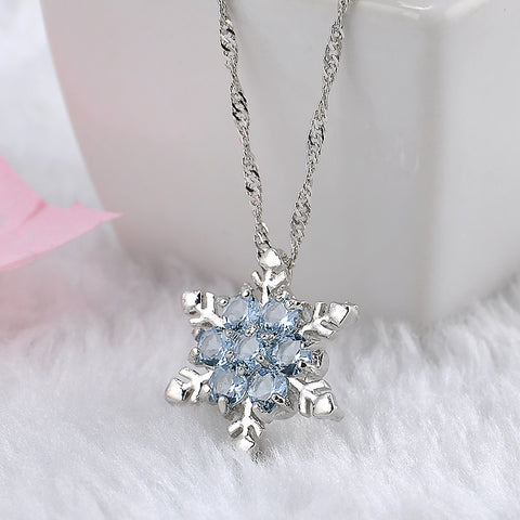 Blue Crystal Charm Snowflake Necklace