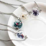 Glass Orb Dried Flower Chain Pendant Necklace