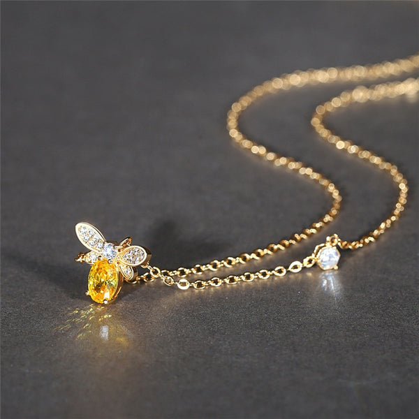 Save The Bees - Zircon Gold Bee Necklace