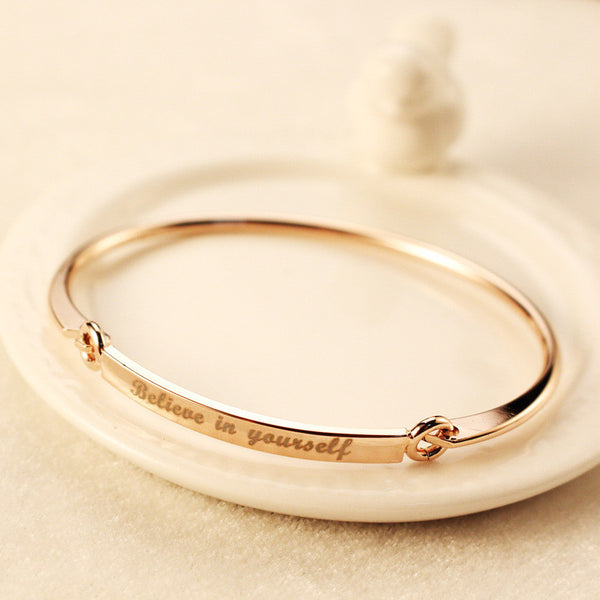 Believe in Yourself Rose Gold Plated Bracelet