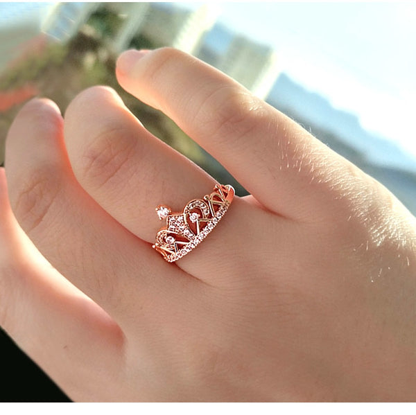 Princess Crown Cubic Zirconia Ring