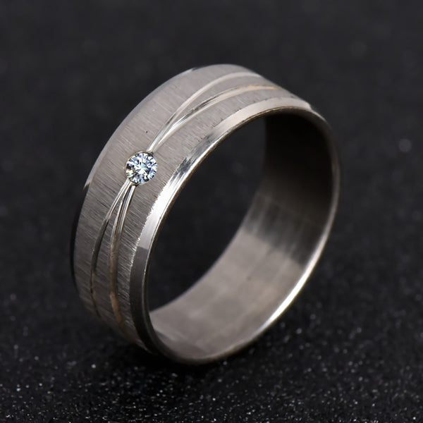 Stainless Steel White Sapphire Ring