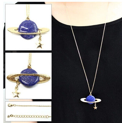 Saturn Planet Star Design Pendanct Necklace