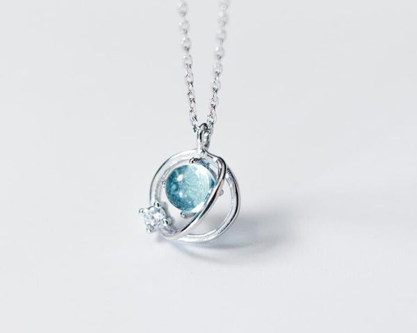 Blue Orb Planet Necklace