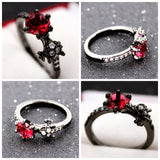Black Gun Plated Ruby Garnet Ring