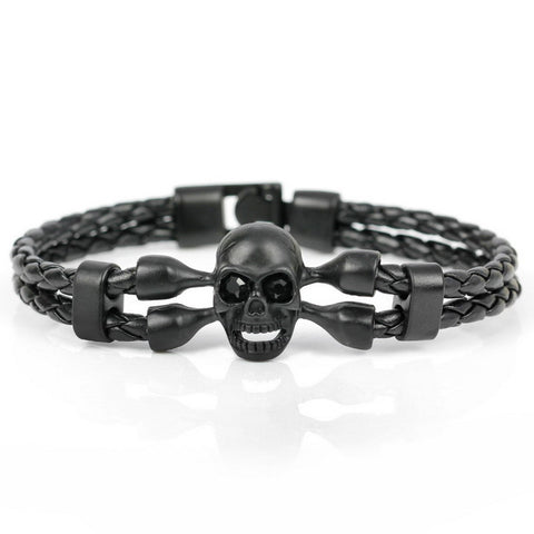 Leather Skull Charm Friendship Bracelets