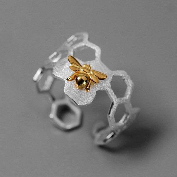 Save The Bees -  925 Sterling Silver Honeycomb Bee Ring