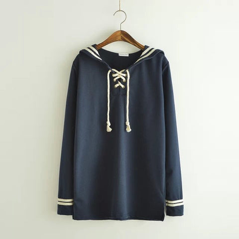 Sailor Collar Long Sleeve Pullover
