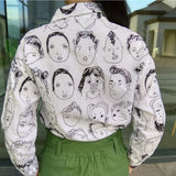 Face Portrait Print Long Sleeve Loose Casual Linen Shirt