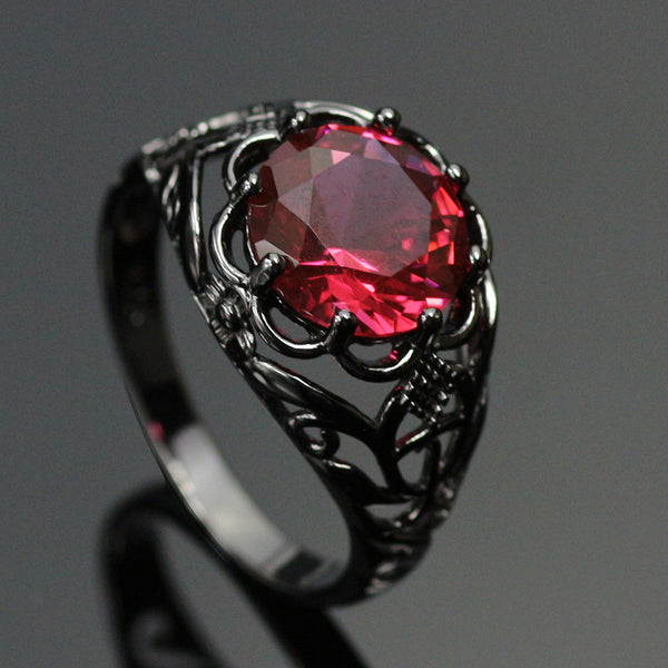 Black Gold Filled Mysterious Ruby Ring