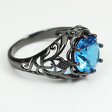 Black Gold Filled Sky Blue Sapphire Ring