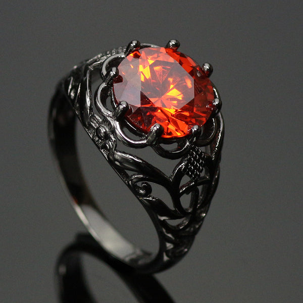 Black Gold Filled Crimson Orange Ring
