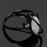 White Fire Opal Crossed Dark Ring