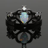 White Fire Opal Crown Dark Ring