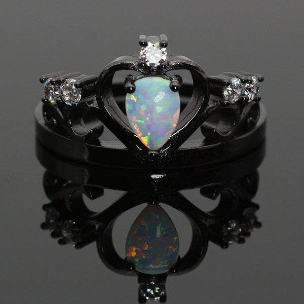 White Fire Opal Crown Dark Ring Ess6 Fashion