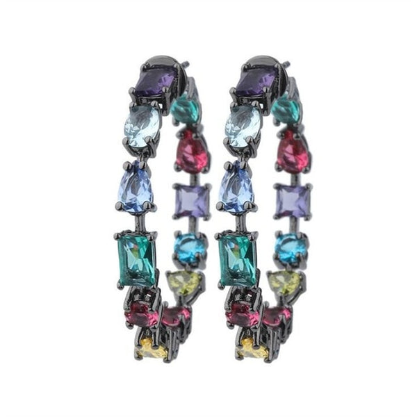 Black Copper Colorful AAA Cubic Zirconia Earring