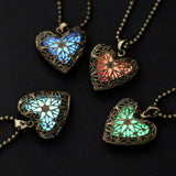 Glow In The Dark Hollow Pendant Charm Heart Necklace