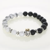 Gold Crown Lion Natural Stone Lava Beads Bracelet