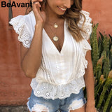 Ruffle White Blouse