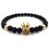 Crown Charms Natural Agate Stone Beads Bracelets