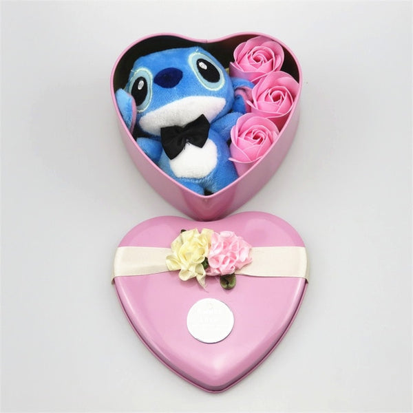 Stitch Plush with Soap Flowers