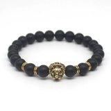 Gold Silver Lion Head lava Beads Bracelets